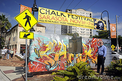 Chalk festival welcome sign Editorial Image