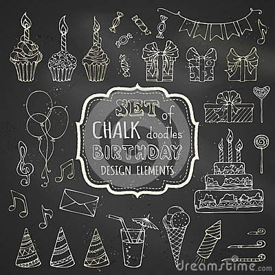 Free Chalk Set Of Hand-drawn Birthday Design Elements. Stock Images - 59623724