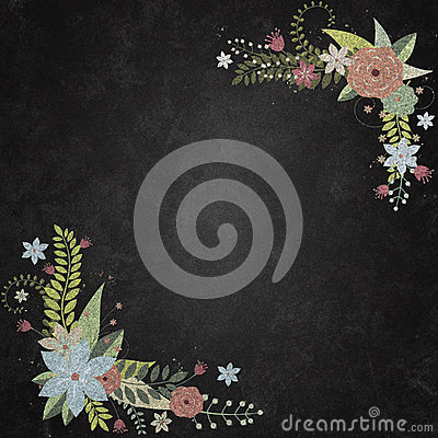 Chalkboard With Background With Floral Borders Stock Photo