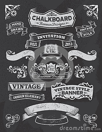 Free Chalkboard Banner And Ribbon Design Set On A Black Royalty Free Stock Image - 33106986