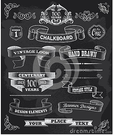 Free Chalkboard Banners And Ribbons Set On A Black Back Royalty Free Stock Images - 31182189