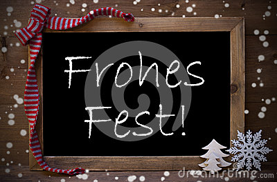 Chalkboard Decoration Frohes Fest Means Christmas, Snowflakes Stock Photo