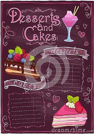 Chalkboard desserts and cakes menu. Vector Illustration
