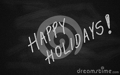 Chalkboard with Happy Holidays message