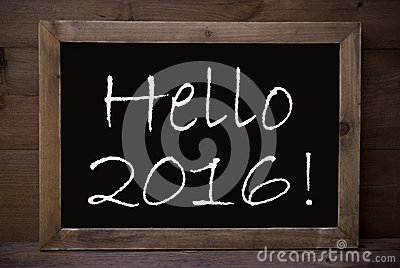 Chalkboard With Hello 2016 Stock Photo