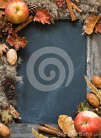 Free Chalkboard In The Frame Of Dried Flowers And Apples Stock Photos - 100996583