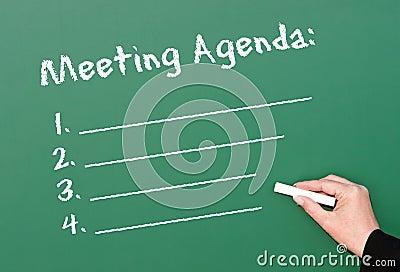 Chalkboard meeting agenda
