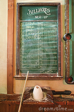 Chalkboard queue for billiards.