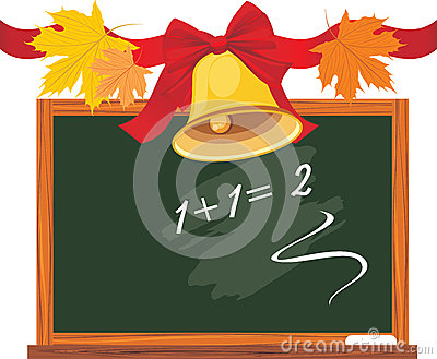 Chalkboard and school bell with bow and leaves