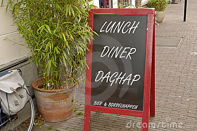 Chalkboard sign with today s lunch and diner