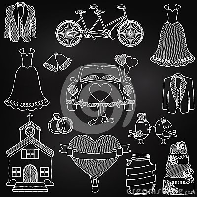 Free Chalkboard Style Wedding Themed Doodles Stock Images - 38725484