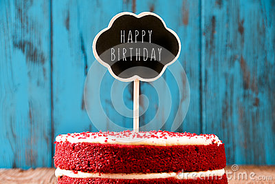 Chalkboard With The Text Happy Birthday In A Cake Retro Stock Photo
