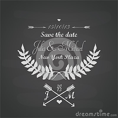 Chalkboard wedding template with laurels, arrows, leaves and hearts