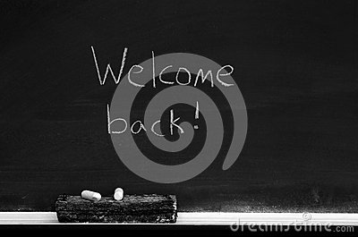 Chalkboard with Welcome Back Sign