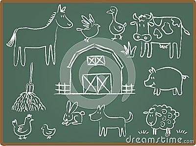 Chalkboard zwierzęcy gospodarstwo rolne