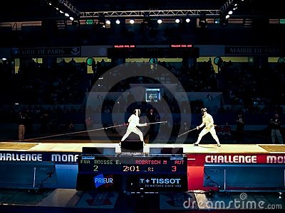 Challenge Monal Paris - Fencing semi-finals men Editorial Photo