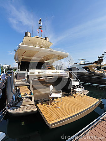 Challenger Riva on display at the Singapore Yacht Show 2013 Editorial Stock Photo