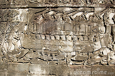 Cham navy in battle, Bayon Temple carving
