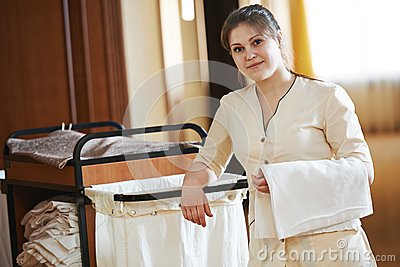 Chambermaid at hotel stock photo image 44645288 for Hotel room service cart