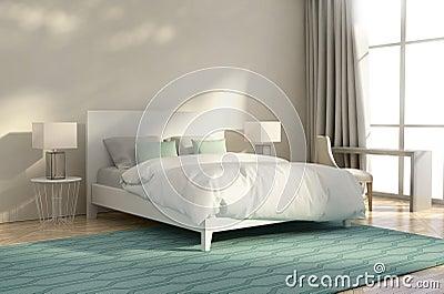 Chambre coucher de luxe blanche et verte illustration for Chambre verte et blanche