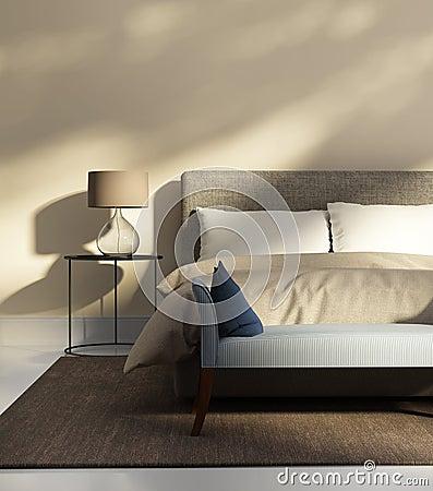 Chambre coucher beige avec un banc photo stock image 55969869 - Chambre a coucher brun beige ...