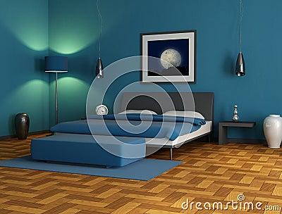 Chambre à coucher bleue