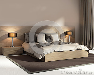 Chambre Coucher De Luxe Beige Fonc E L Gante Contemporaine Photo Stock Image 62192088