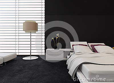 chambre coucher moderne avec le d cor noir et blanc illustration stock image 41216214. Black Bedroom Furniture Sets. Home Design Ideas