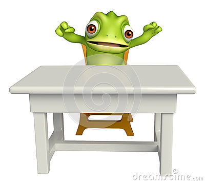 Free Chameleon Cartoon Character With Table And Chair Royalty Free Stock Photo - 71761055