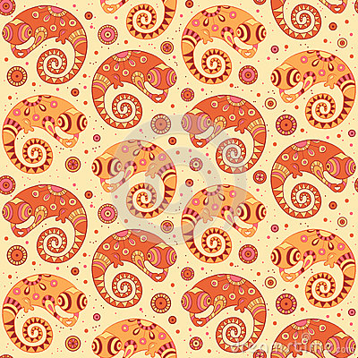 Chameleons decorative seamless pattern in cartoon