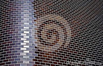 Chamfered corner of decorative brick wall