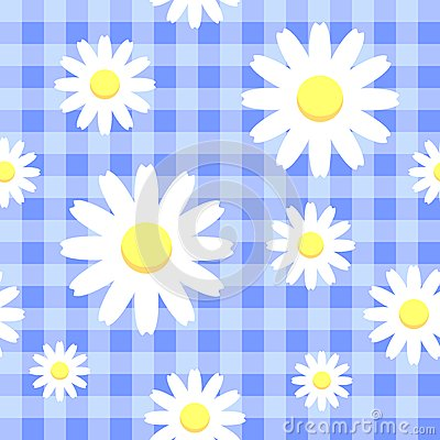 Chamomiles on blue checkered background