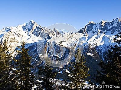 Chamonix Aguilles lit by the Sun