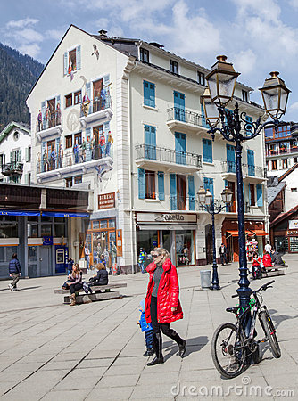 Chamonix, France - Painted Building Editorial Photo