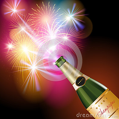 Free Champagne And Fireworks Stock Photos - 62773803