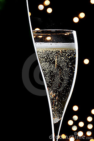 Champagne on black background