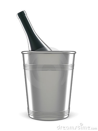 Champagne bottle in bucket isolated