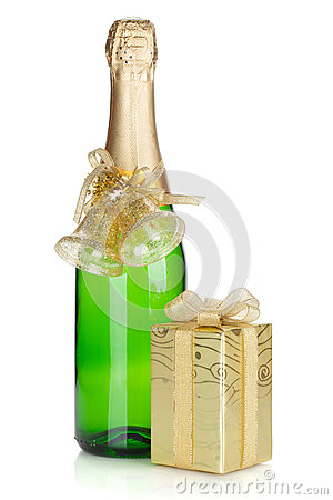 Champagne bottle and christmas gift