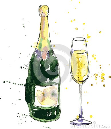 Champagne Bottle And Glass Stock Vector Image 47007047