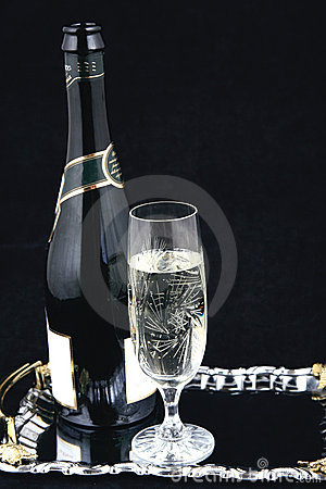 Champagne bottle and glass VI