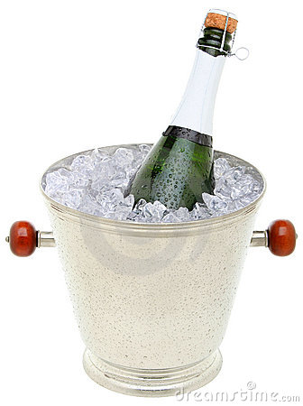 Champagne bottle in an ice bucket