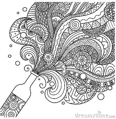 Champagne bottle line art design for coloring book for adult,poster, card and design element Vector Illustration