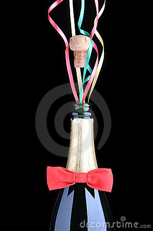 Champagne Bottle with Red Bow Tie and ribbons