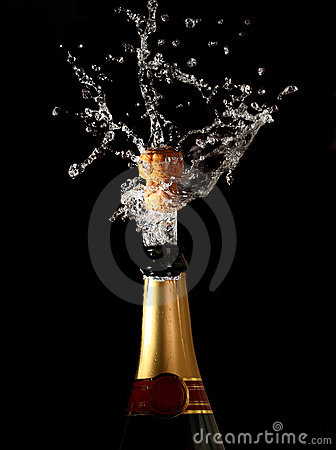 Free Champagne Bottle With Shotting Cork Royalty Free Stock Images - 7544379