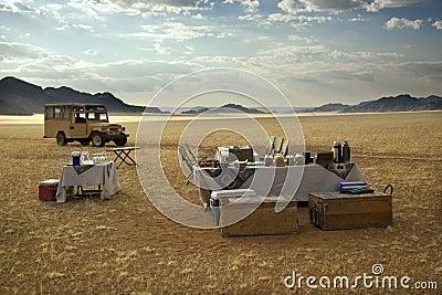 Champagne breakfast - Namib Desert - Namibia