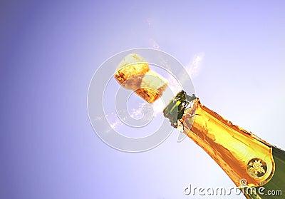 Champagne explodeert