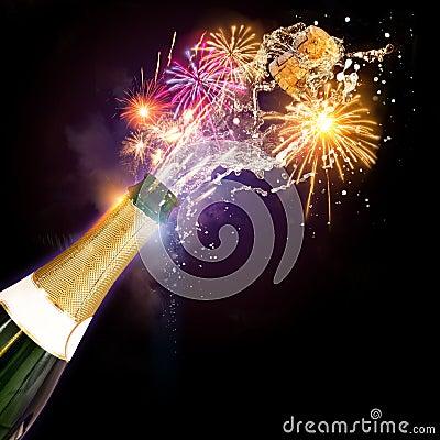 Free Champagne & Fireworks Celebrations Stock Image - 37384951