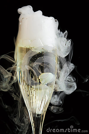 Champagne flute with ice vapor