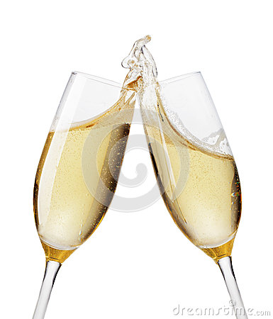 Champagne flutes toasting Stock Photo