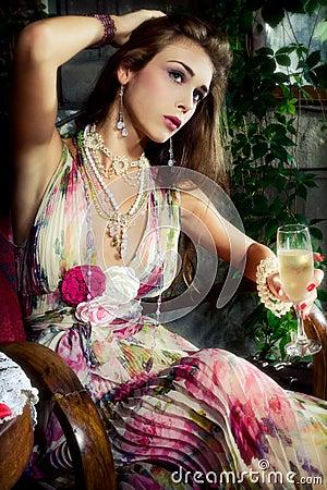 Champagne in garden